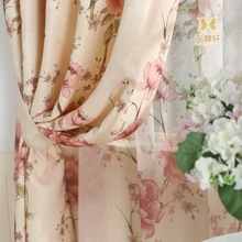 Pastoral americana gran impresión de la flor cortina de sombreado cortina de tela de seda de alto grado blanco oferta especial al por mayor de adquisiciones