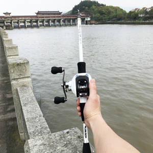 Image 1 - 1.8 2.4m short carbon ultralight bait casting fishing rod combo 17+1BB 6.3:1 left right reel  lure boat rock stick pesca pole