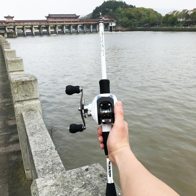 1.8 2.4m short carbon ultralight bait casting fishing rod combo 17+1BB 6.3:1 left right reel  lure boat rock stick pesca pole
