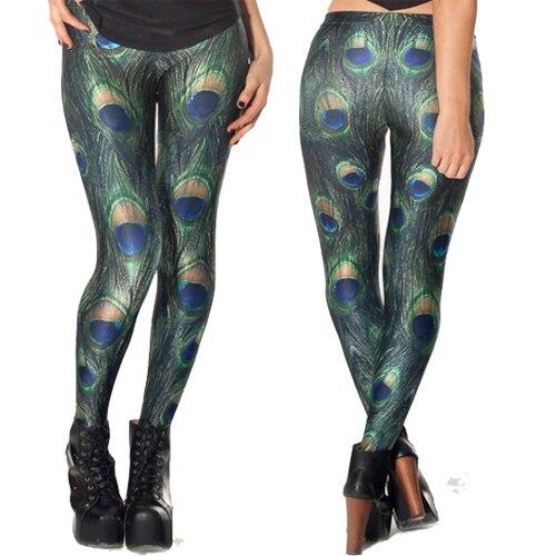 New arrival 2015 X-051 PEACOCK   LEGGINGS   Women   Leggings   green peacock feathers digital print Pants