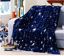 55Bright stars bedspread blanke High Density Super Soft Flannel Blanket to on for the sofa/Bed/Car Portable Plaids