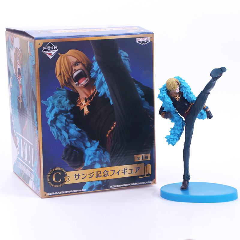 Anime <font><b>One</b></font> <font><b>Piece</b></font> <font><b>Ichiban</b></font> <font><b>Kuji</b></font> Sanji 20th Anniversary Blue Clothes Ver. PVC Action Figure Collectible Model Kids Toys Doll 21cm image