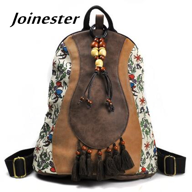 Girls' Ethnic Trend Floral Print PU Casual Backpack With Wooden Beading And Tassels College Style Vintage Schoolbag Travel Bag