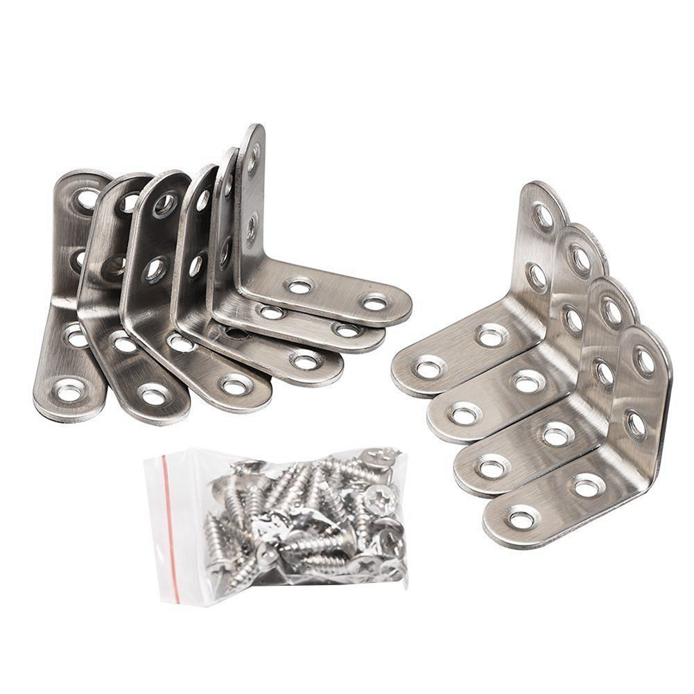 90 Degree Right Angle Brackets Stainless Steel Corner Braces with Screws, 10 Pack ned 10pcs 65x65x20mm practical stainless steel corner brackets joint fastening right angle 2 5mm thickened bracket for furniture