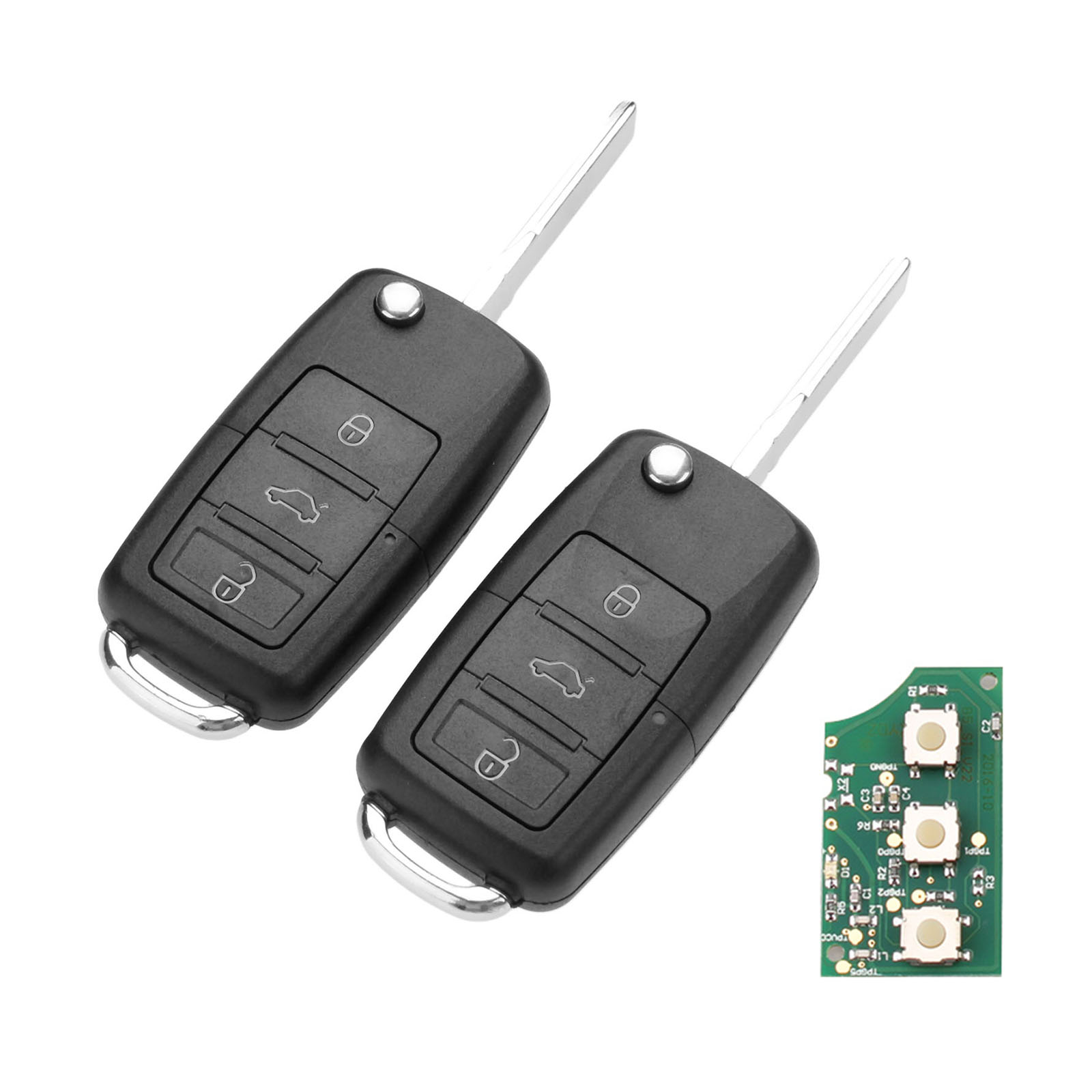 Yetaha 2pc 1J0959753AH Car Smart Remote Key 3 Button 48Chip Fit For Volkswagen Beetle Golf Passat Bora Polo Skoda Fabia Roomster