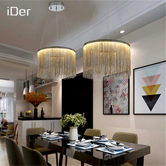 Modern Air Tassel Aluminum Chain Pendant Lights Nordic Living Room Lights  Villa Creative Restaurant Shop Decorative Part 87