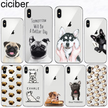 Ciciber Animal Bonito Pug Bulldog Capa Funda para Iphone 7 8 6 6 S Plus 5S SE Macio TPU Telefone caso para O Iphone X XS MAX XR Coque Capa(China)