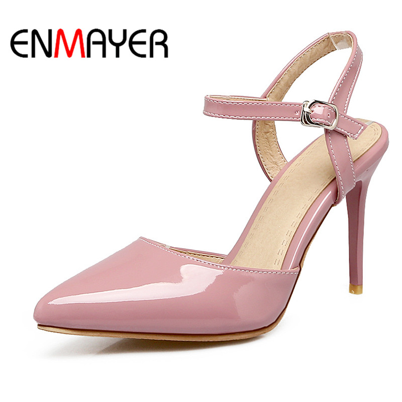 ENMAYER Buckle Strap Shoes Women High Heels Spring&Antumn Pointed Toe Solid 2017 Classic Stilettos Casual Pumps Shoes Size33-47  цены онлайн