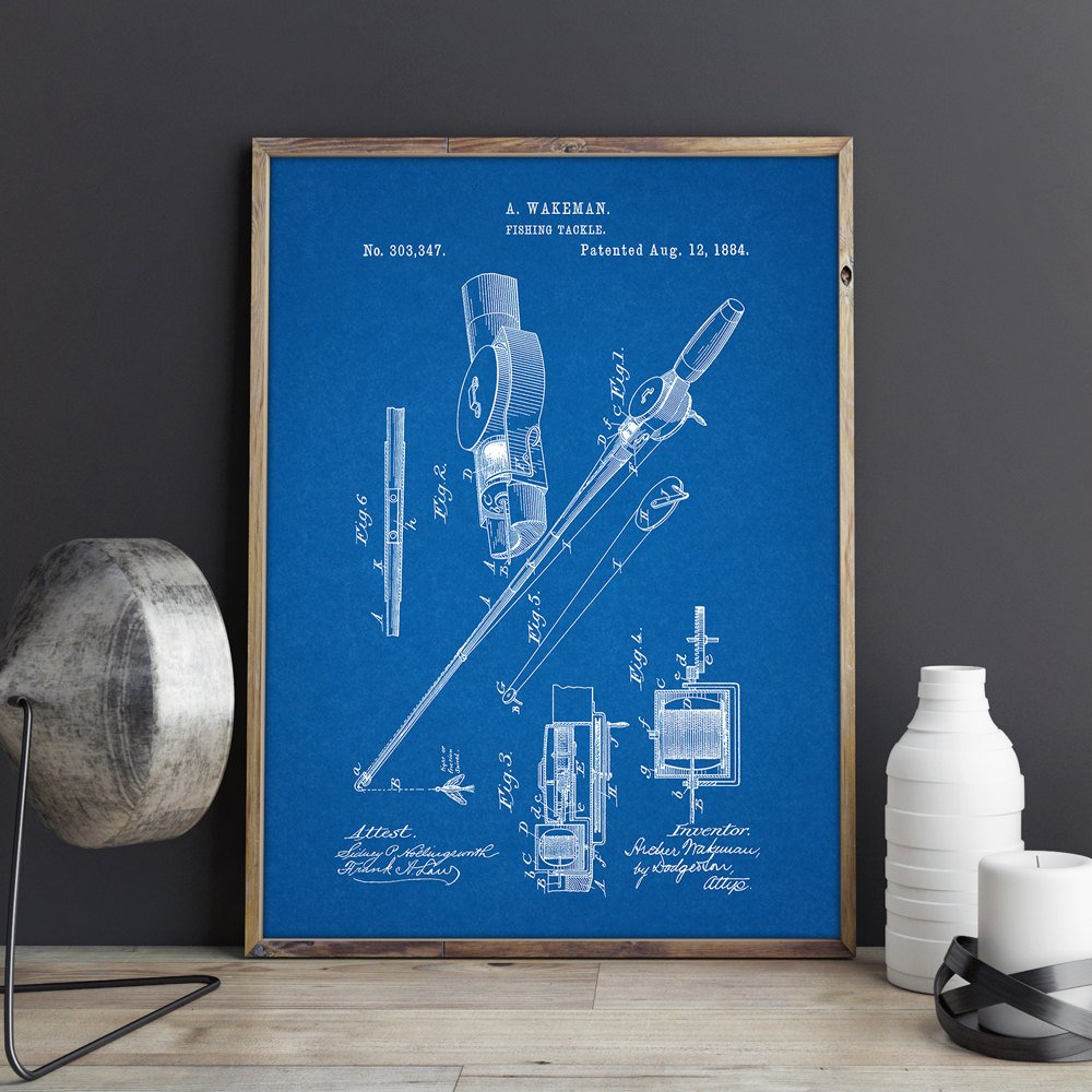 Fishing Reel and Rod patent Wall art  1