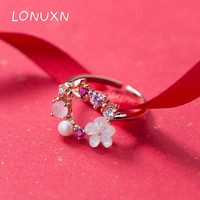 2018 Circle Round girls Crystal Finger Rings for Women 925 Sterling Silver Flowers Ring shell pearl pink rings Wedding Jewelry