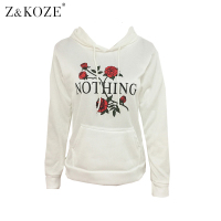 Z KOZE New Arrival Funny Nothing Letter Print Sweatshirt Kawaii Rose Printing Hoodies Women 2017 Autumn