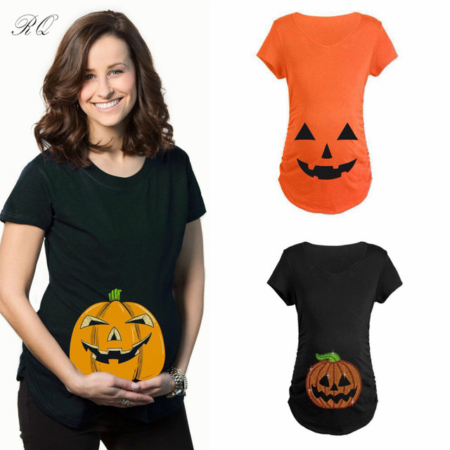 80efe2a8973 RQ Fashion Pregnant Maternity T Shirts Casual Pregnancy Maternity Clothes  With pumpkin Funny Maternity Shirts 100% Cotton YF44