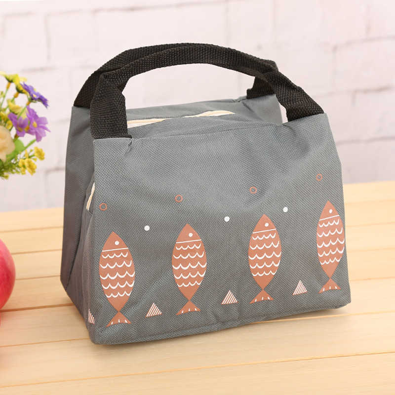 Small fish Portable Lunch box Bag Thermal Insulated Cold keep Food Safe Stripe warm Picnic Lunch bags For Girls Women