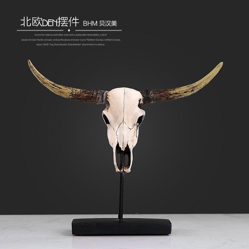 Résine bétail crâne figurines bar vintage statue mariage décor à la maison artisanat chambre décoration objets résine animal crâne figurines