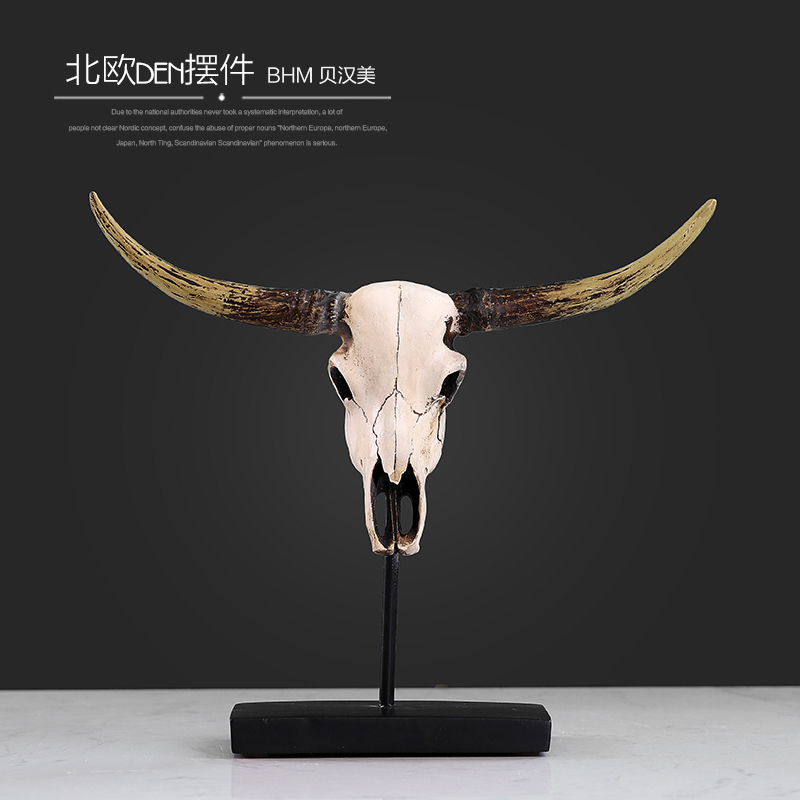 resin Cattle skull figurines bar vintage statue wedding home decor crafts room decoration objects animal
