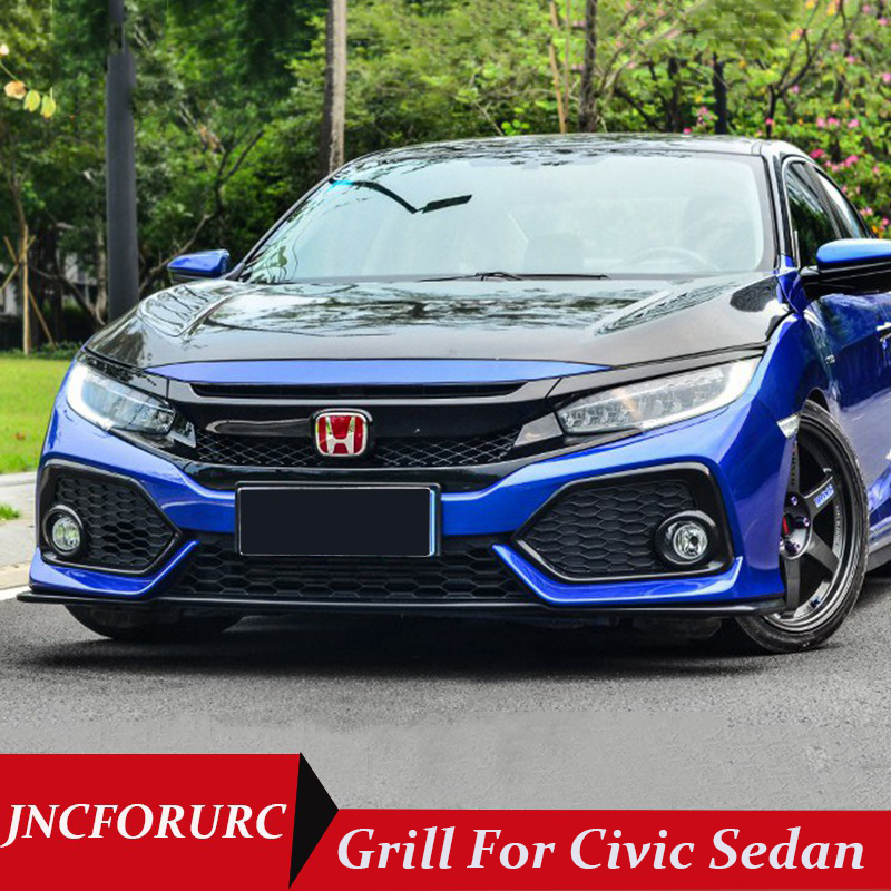 JNCFORURC Exterior Parts Racing Grills For HONDA Civic 10th Gen. 2016 2017 Type R Style Grills For Civic ABS Material Grill
