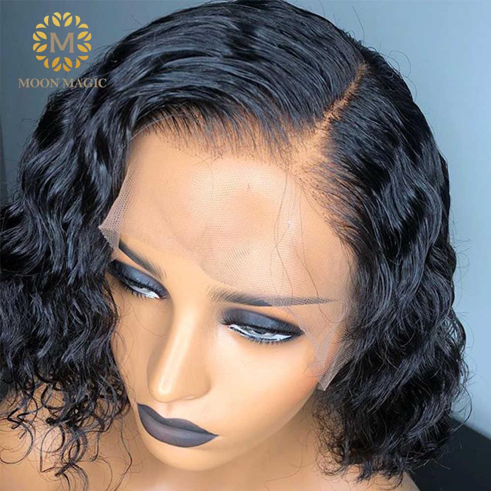 250% густой парик с подкладкой волна воды человеческих волос парик влажные и волнистые парики шнурка спереди короткие кудрявые человеческие волосы тупые режущие парики