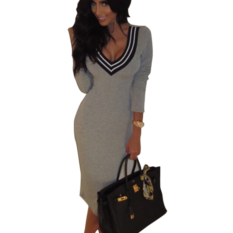 Vestidos 2016 New Knitted Cotton Women Winter Casual Dress Deep V Over Hip Sexy Pencil Bandage Dresses Brief Slim Party Dresses new 2017 hats for women mix color cotton unisex men winter women fashion hip hop knitted warm hat female beanies cap6a03