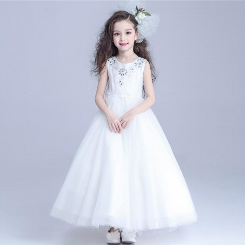 White Flower Girls Dresses For Wedding Gowns Long Beaded Girl Birthday Party Dress Summer Tulle Formal Pageant Princess Costume 2017 summer flower lace girls wedding pageant party dresses princess formal prom gowns size 3 8 year new kid girl clothes