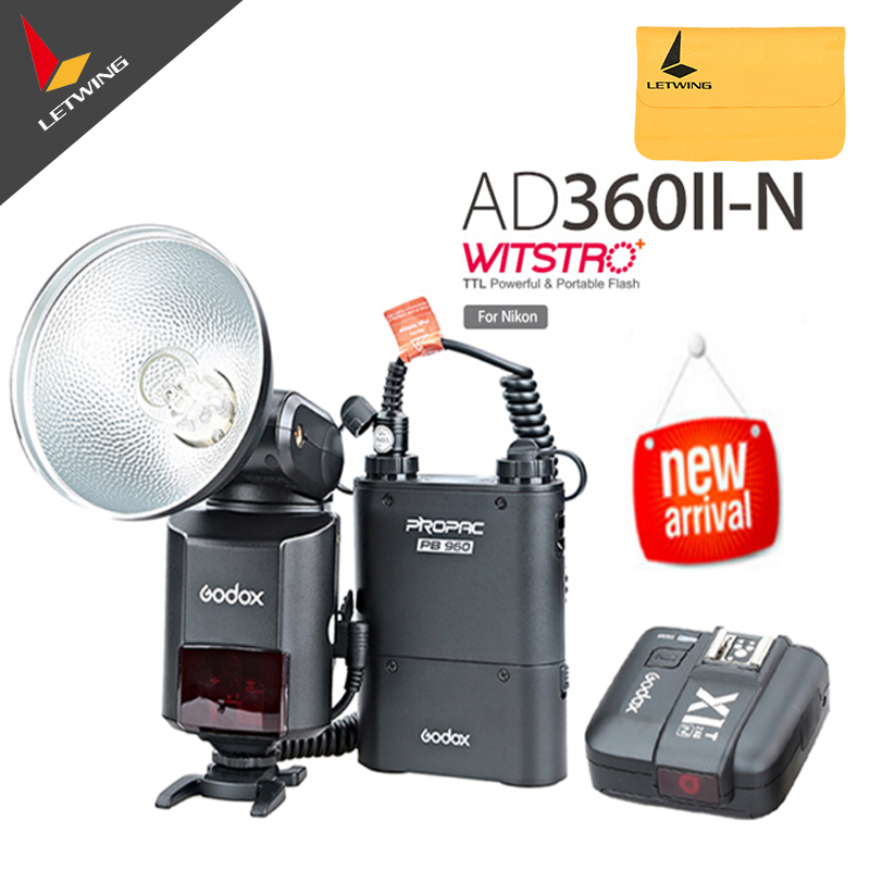 Godox Witstro AD-360 AD360II-N TTL Flash Speedlite + PB960 Battery Pack Black+ X1N Wireless Transmitter for Nikon DSLR Camera godox ad360 camera outdoor shooting flash kit ad 360 360w flash ft 16 wireless trigger ad s17 diffuser 60 60cm softbox