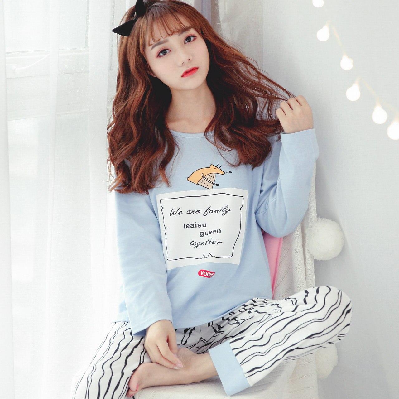 100% Cotton Long Sleeve Pajamas Sets For Women 2019 Autumn Winter Sleepwear Cute Girls Pyjama Homewear Pijama Mujer Home Clothes