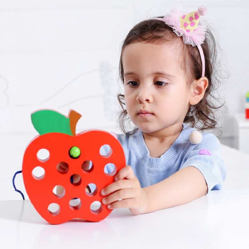 Wood Warm Lacing Threading Big Apple Educational Toys for Kids Wooden Learning Early Development Baby Toys coordinate Hand Eyes in Puzzles from Toys Hobbies