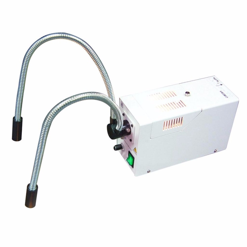 Fiber Optic Microscope Dual Pipe Gooseneck Illuminator w/ Adjustable Brightness Halogen Bulb + 24V 150W 3200K Quartz microscope illuminator optical microscope fiber optic microscope - title=