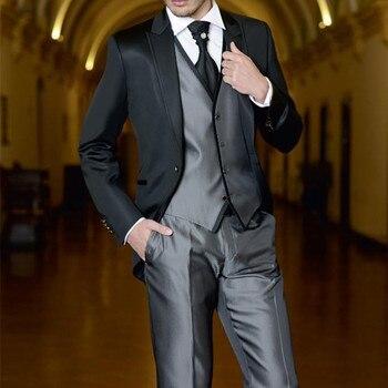 Formal groom Tuxedos mens suitGroomsmen custom men suit Wedding Suits for men One Button Prom Bridegroom (Jacket+Pants+Vest+Tie)
