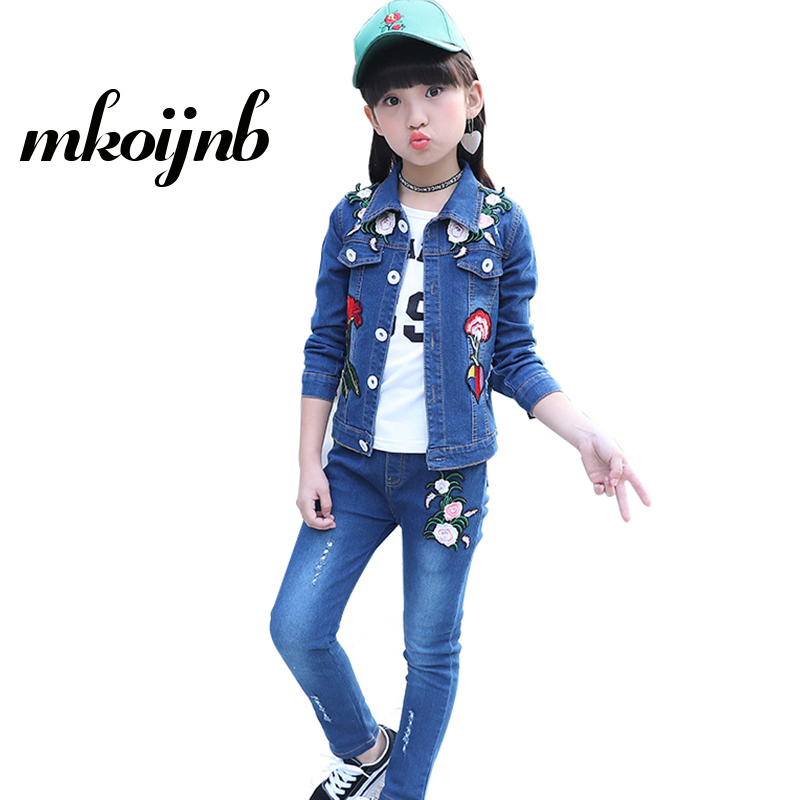 Girls Clothing Set Spring Autumn Children Embroidery Flowers Denim Coat+Jeans 2 Pcs Girls Sports Cowboy Suits 4 6 8 10 12 Years 2014 spring autumn new fashion girls sports suits zipper coat trousers flowers print big girl clothes sets children sportswear