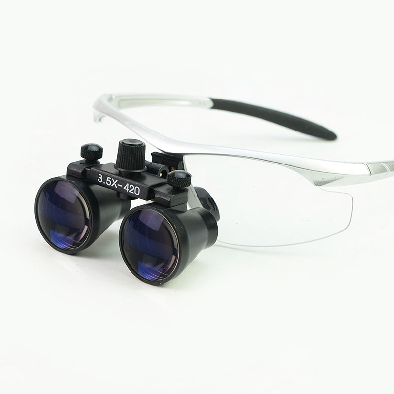 Wide Field 3 5X Dental Magnifying Glass Eye Glasses Orthopedic Surgery Magnifier with Protective Eyeglasses Frame