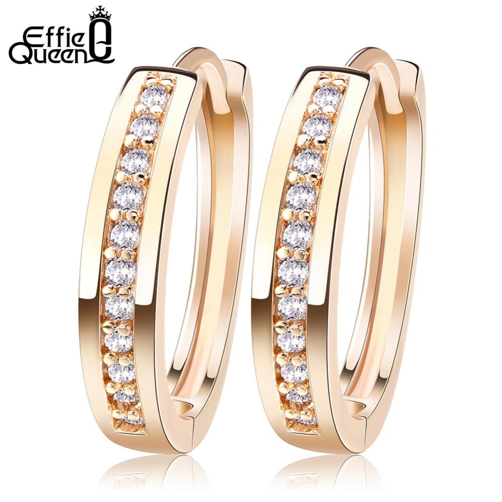 Effie Queen Söt Romantisk Stil Örhängen Smycken Guld-Färg Paved med AAA Cubic Zircon Stud Örhängen för Kvinnor DDE34