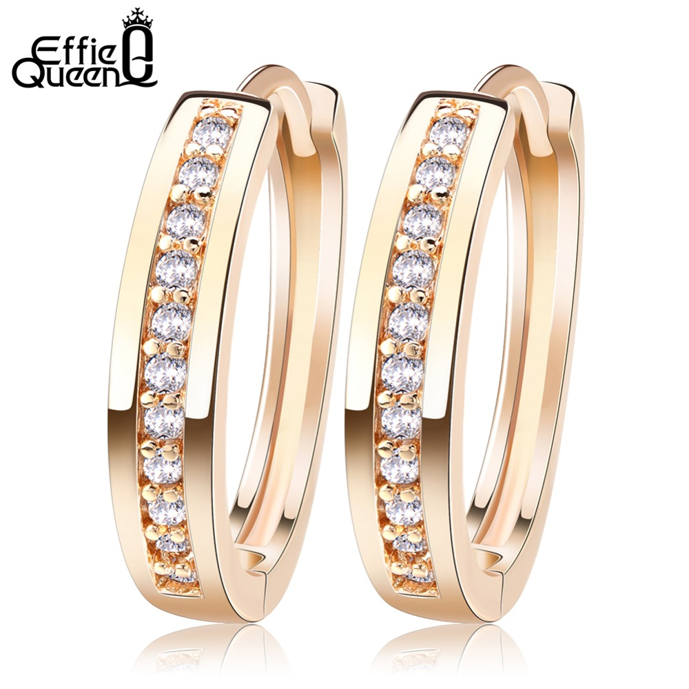 Effie Queen Cute Romantic Style Ohrringe Schmuck Gold-Farbe gepflastert mit AAA Cubic Zirkon Ohrstecker für Frauen DDE34