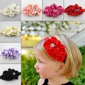 Baby Kids Girls Infant Flower Rhinestone Headbands Girl Hair Bow Band Chiffon Headwear