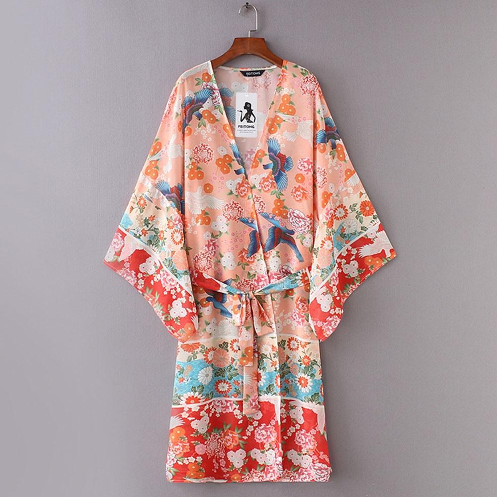 ALI shop ...  ... 32996161798 ... 1 ... High quality Summer tops Women Chiffon Shawl Kimono Cardigan Top Belt Cover Up Blouse Beachwear Sheer Tops d90403 ...