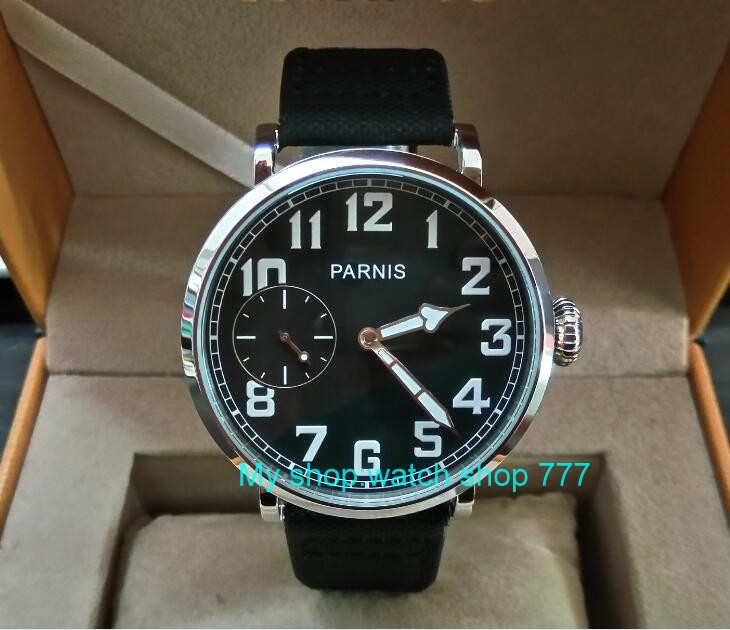 46mm parnis Black dial Asian 6497 17 jewels Mechanical Hand Wind movement men watch luminous Mechanical watches zdgd244A limited edition watch 50mm big dial parnis men s watch asian 6498 mechanical hand wind pvd black watchcase 84aa