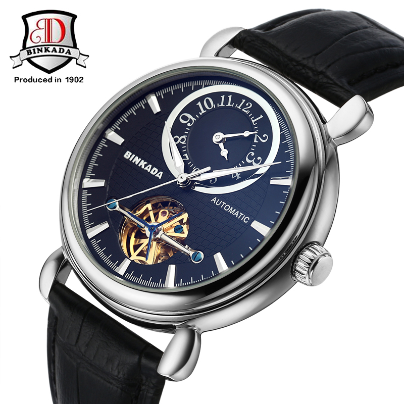 Dual Time Zone Mechanical Watches BINKADA New Skeleton Design Watch Homme Mens Watches Automatic Relogio Male Mechanical Watch