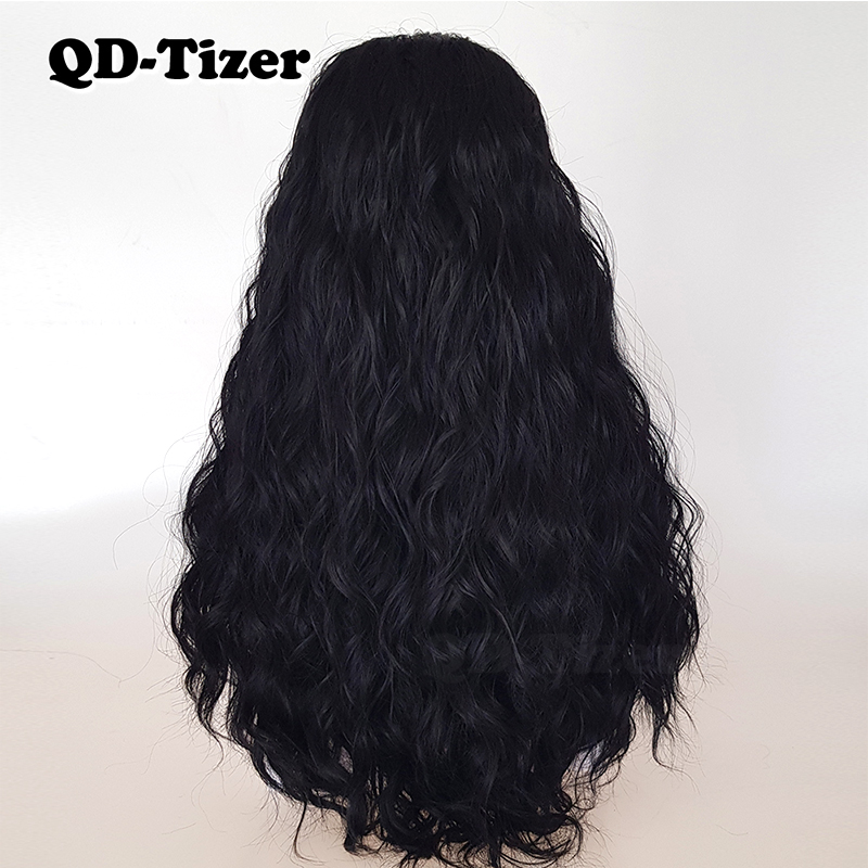 Image 4 - QD Tizer Natural Black Loose Wave Synthetic Front Lace Wig Resistant Hair Full Density  Baby Hair For Black Women-in Synthetic Lace Wigs from Hair Extensions & Wigs