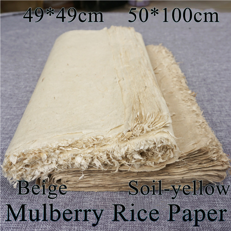 Top Archaistic Mulberry Paper Chinese Calligraphy Rice Paper Feather edge Paper Deckle-e ...