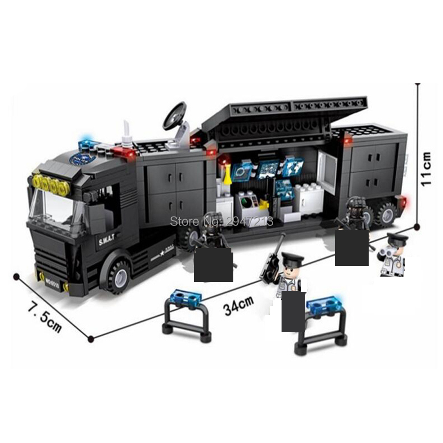 compatible LegoINGlys city SWAT super Police Command vehicle Truck Building blocks figures giftweapons brick toys for children building blocks city police station coastal guard swat truck motorcycle learning