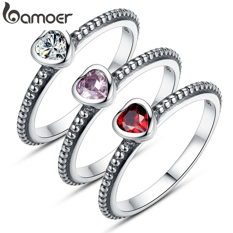 BAMOER Stackable-Ring Wedding-Jewelry Purple Zircon Love-Heart-Ring Silver-Color For Women