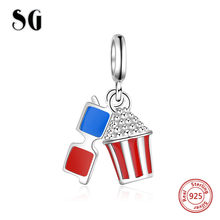 SG Popcorn and glasses beads with blue&red enamel charms 925 sterling silver fit original pandora bracelet jewelry for gifts(China)