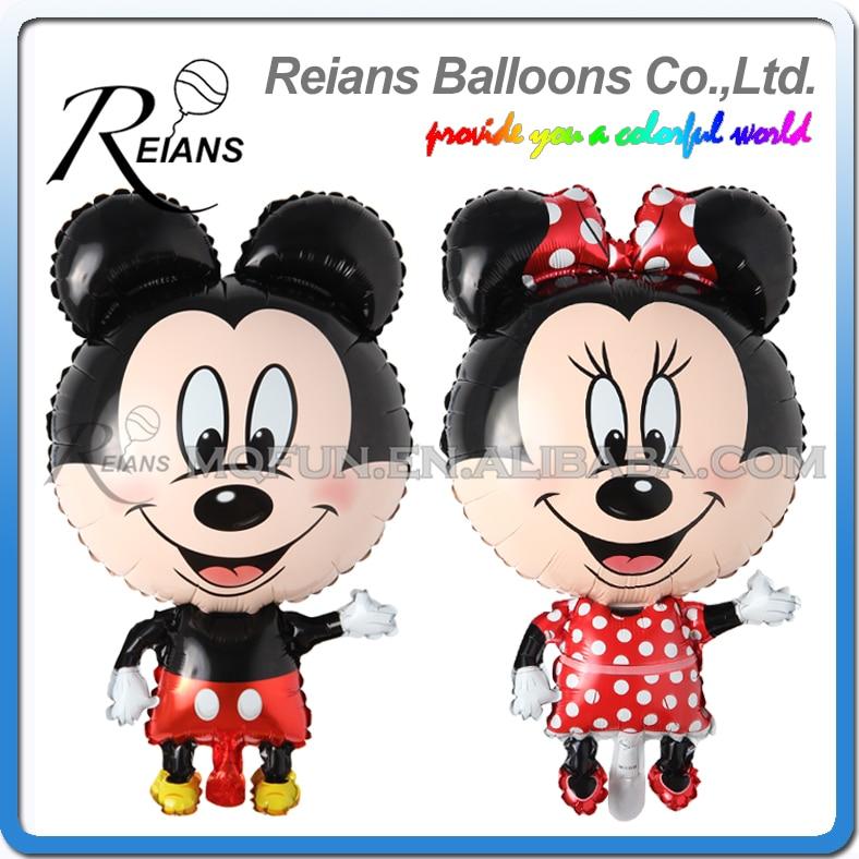 REIANS 85cm Mickey Minnie Mouse Balloon Cartoon Foil Birthday Party Balloon Airwalker Balloons for Kids Baby Toys Party globos