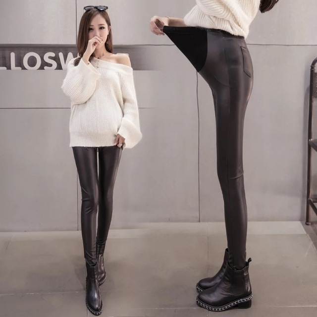 e81a805f95936 2018 New Spring Autumn Pregnant Women Adjustable Cotton PU Leather Leggings  Maternity Pants Comfortable Warm Fitness Clothes