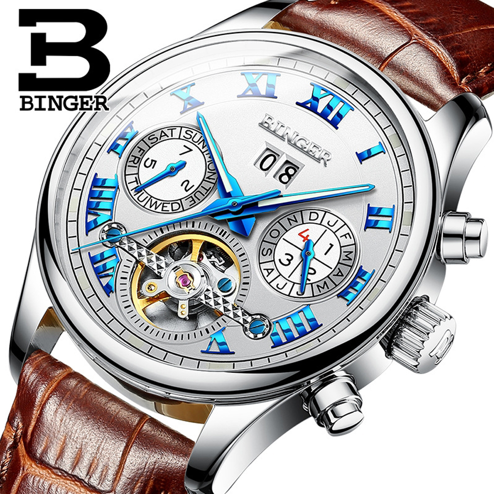 Genuine Switzerland Brand BINGER Men Self-wind waterproof Leather Automatic Mechanical Watch Fashion Sapphire Tourbillon Watch mce brand men self wind waterproof leather strap automatic mechanical male black white dial fashion tourbillon watch men clock