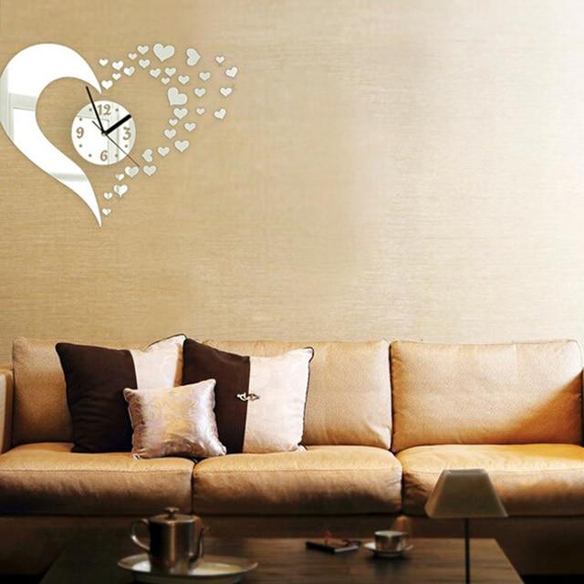 Stylish 3D Heart Shaped DIY Acrylic Mirror Wall Clock Wall Stickers ...