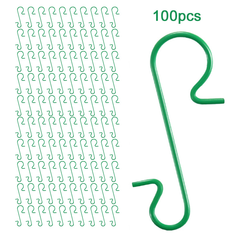 100pcs Ornament Hooks S-Shaped Hanger Rack For Clothes Key Hat Hanging Household Kitchen Bathroom Storage Rack For Christmas
