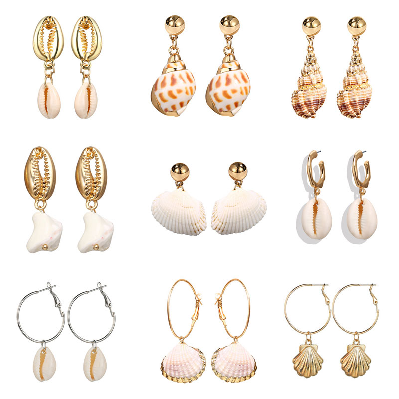 Modyle 30 Styles Sea Shell Earrings For Women Gold Silver Color Metal Shell Cowrie Statement Earrings 2019 Summer Beach Jewelry in Drop Earrings from Jewelry Accessories