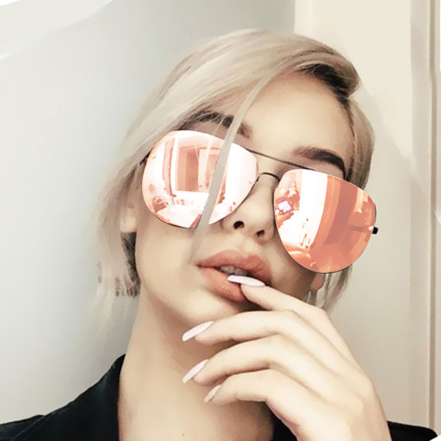 Women Sunglasses Mirror Summer Style Fashion Glasses Vintage Sexy Lady Sun Glasses Hot Sale Rimless Rose Gold Classic Aviation