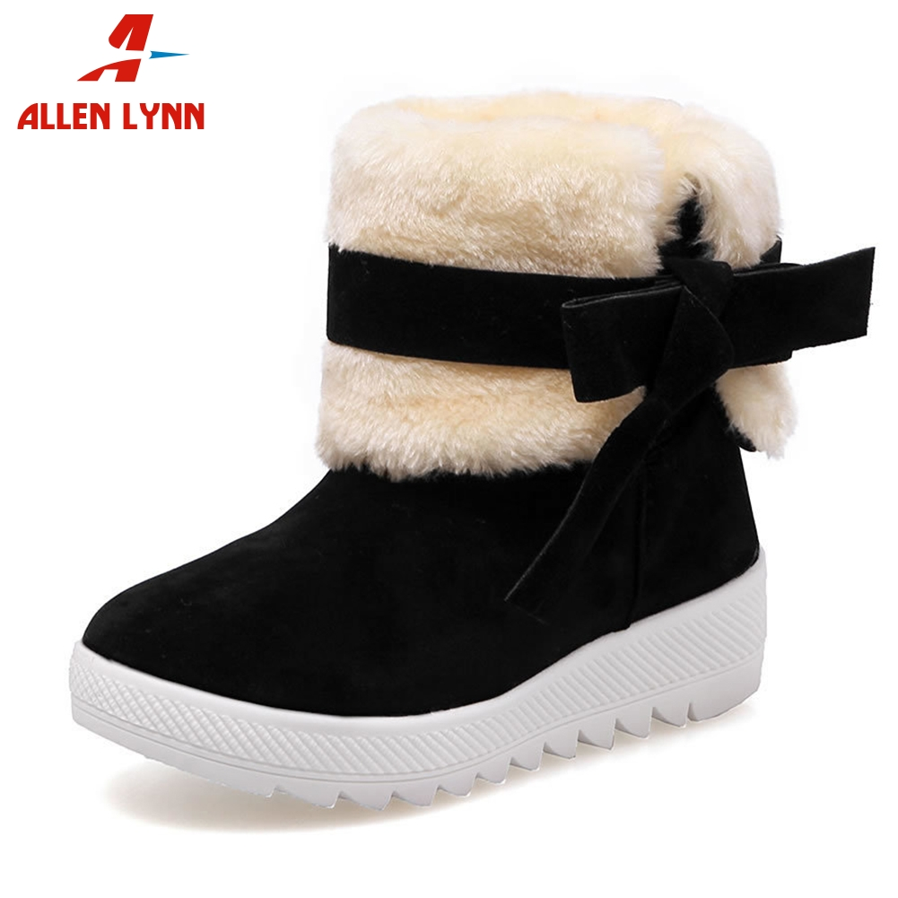 ALLENLYNN New Dropship Warm Platform Add Fur Booties Women 2019 Winter Turned Over Ankle Snow Boots non-slip Wedges Shoes Woman
