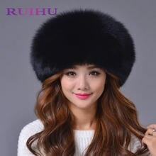 Ruihu natural Piel auténtica sombrero con la bola cuero cálido grueso  femenino Pieles de animales gorras de las mujeres de calid. 635bf5792bf